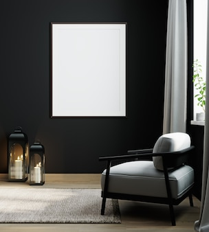 Empty poster frame on black wall in luxury interior background in dark tones with gray armchair, frame mock up in modern interior background, 3d rendering