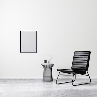 커피 테이블, 흰색 벽, 콘크리트 바닥이 있는 검은색 안락의자가 있는 현대적인 인테리어 디자인 장면의 빈 포스터 프레임, 3d 렌더링