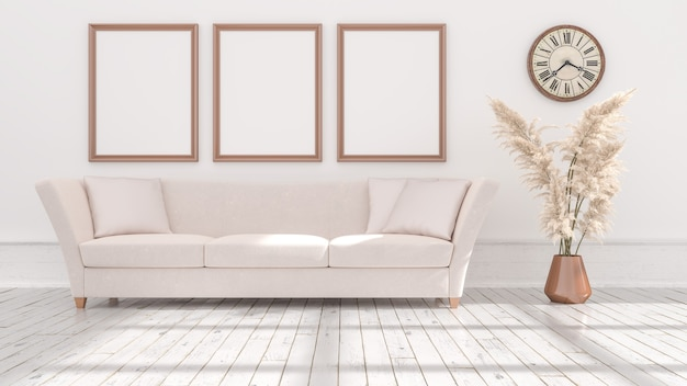 Empty posters frames on beige wall, illuminated by light from the window, 3d illustration