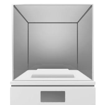 Empty presentation showcase isolated on white background