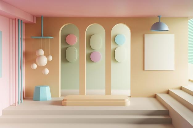 空の製品スタンドと最小限のインテリアデザインの3dイラスト