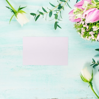 Empty purple card flowers tulips roses spring pastel colors. background copyspace
