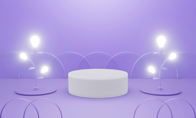 Empty purple podium with light bulb for display product.
