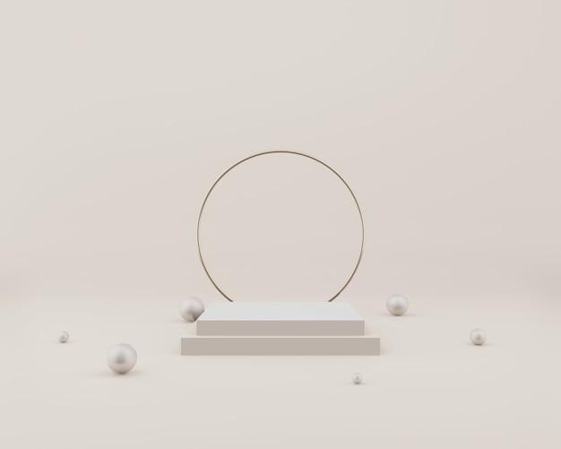 Пустой прямоугольный подиум на сером с шариками и кольцами. 3d рендеринг