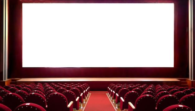 사진을 추가하기 위한 빈 흰색 화면이 있는 빈 빨간색 영화관 좌석. 텅 빈 영화관 강당.