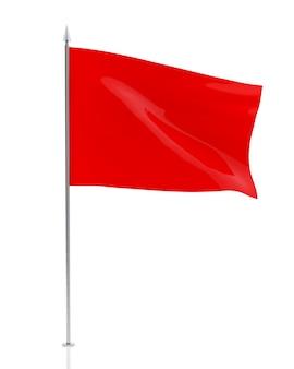 흰색 배경에 고립 된 빈 붉은 깃발