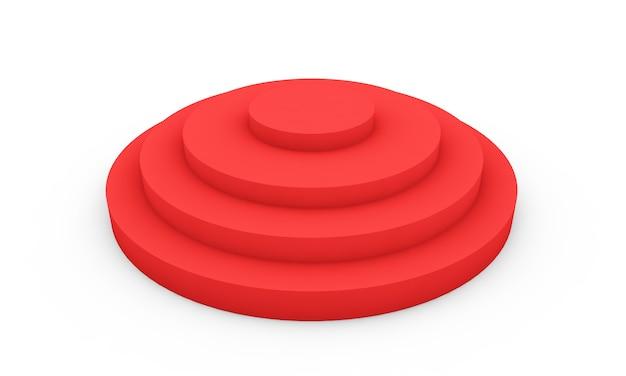 Empty red podium 3d illustration on white background