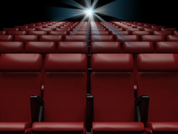 Empty red seats in cinema rendering