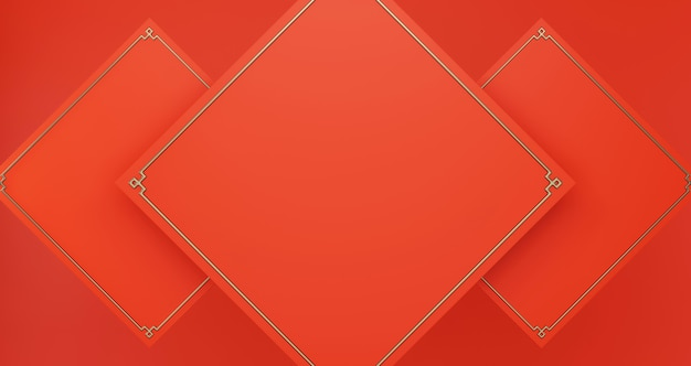 Empty red squares background for present product, luxury minimalist