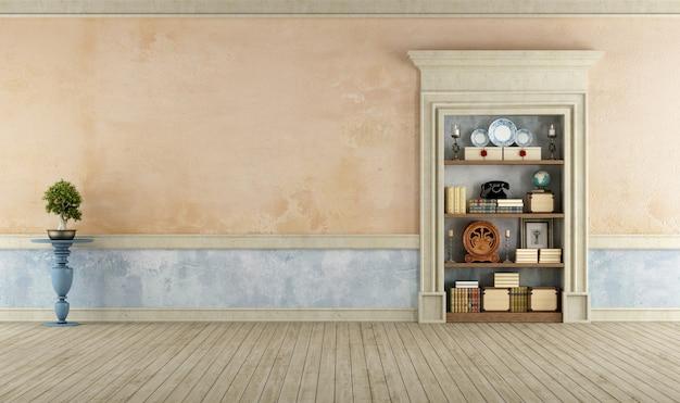 本棚と空のレトロな部屋