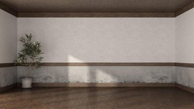 Empty retro room with old wall, hardwood floor and wooden ceiling - 3d rendering