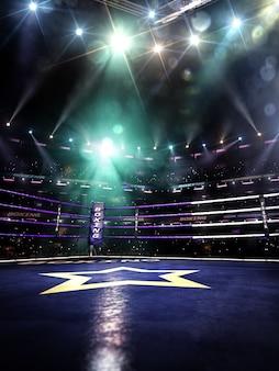 Пустой ринг боксерской арены в свете цветного прожектора