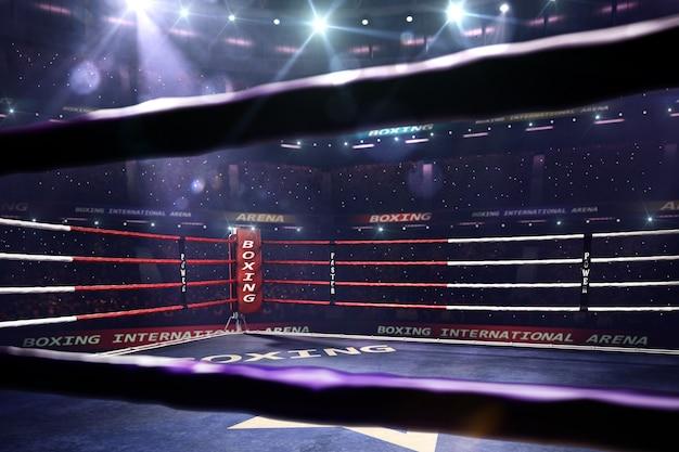 Пустой ринг боксерской арены