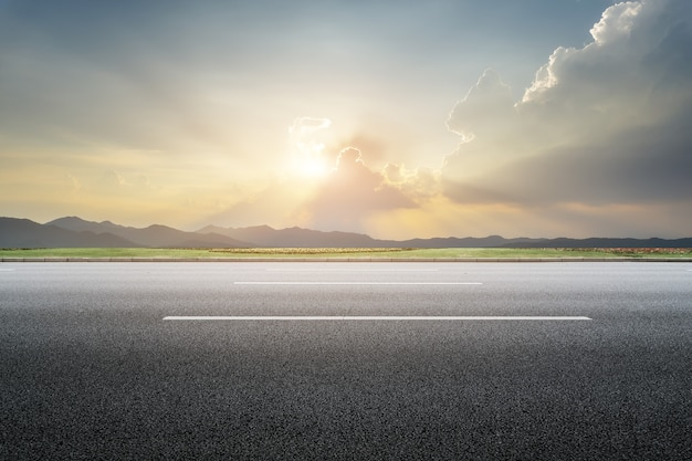 Empty roads, ground and sky, clouds