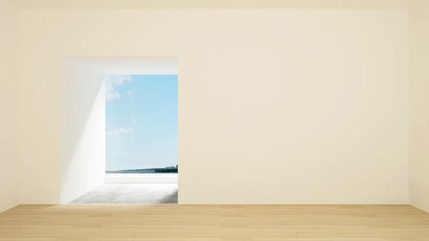 アートワークのための空の部屋と海の景色