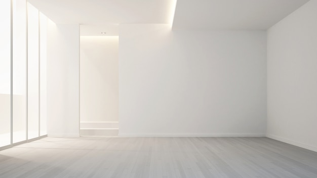 Empty room in apartment or hotel for artwork interior design - 3d rendering