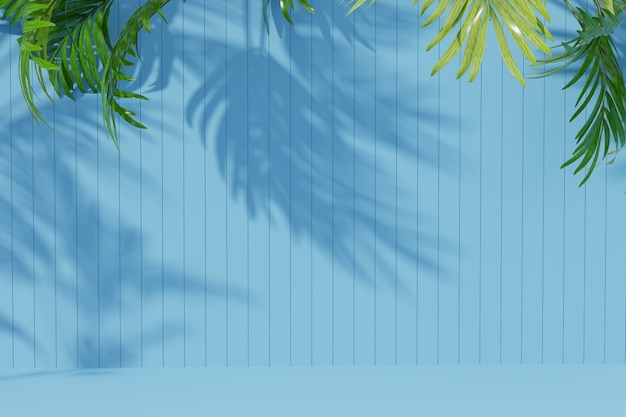 Empty room background with palm leaf and shadow on the wall. 3d render.