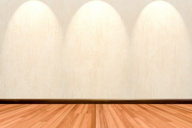 Empty room background with wooden floor cream or beige wallpaper and spotlight.