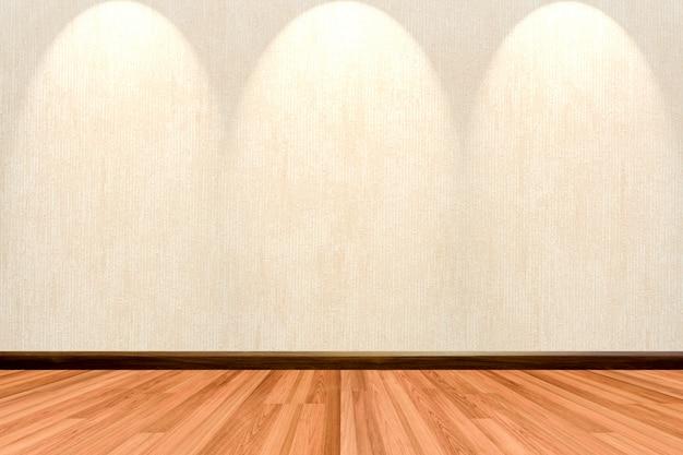 나무 바닥 크림 또는 베이지 색 벽지와 스포트 라이트 빈 방 배경.