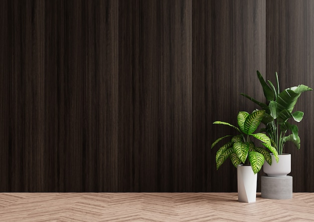Empty room beautiful wooden wall with trees placed on the floor beside it. 3d rendering.