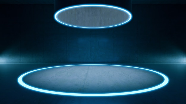 Empty room,  circle light flooor mock up and  concrete room. abstract architecture background.