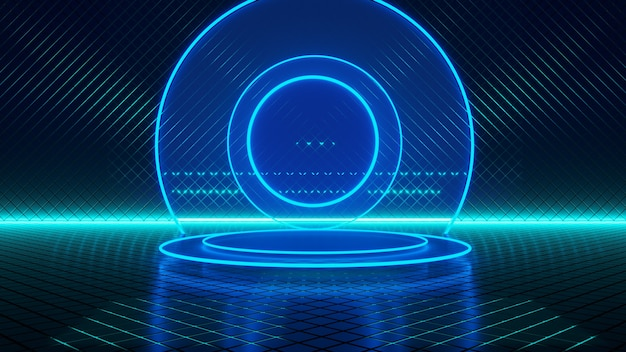 Empty room, circle neon blue light, abstract futuristic background, ultraviolet concept, 3d render