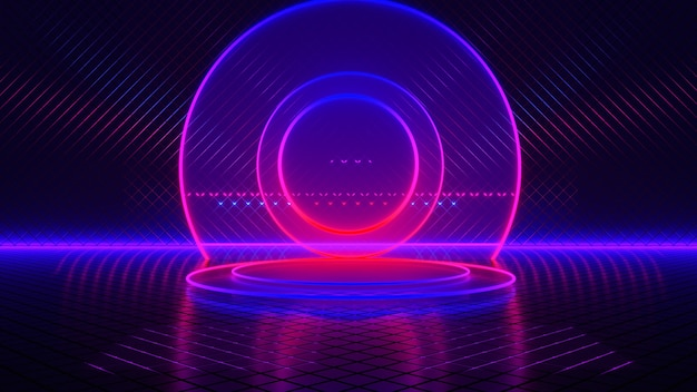 Empty room, circle neon light, abstract futuristic background, ultraviolet concept, 3d render