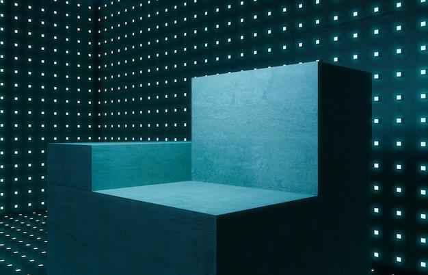 空の部屋、コンクリートの表彰台のモックアップと実験室の照明ドットの背景。