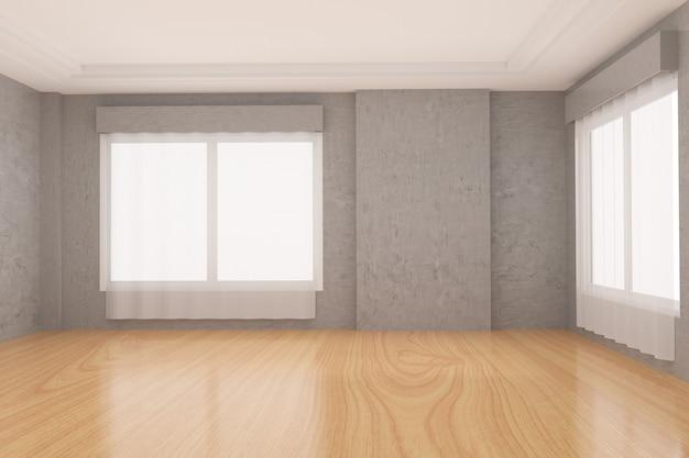 Empty room in concrete wall and wood parquet floor in 3d rendering