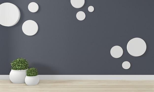 Empty room dark wall background on floor wooden interior design. 3d rendering