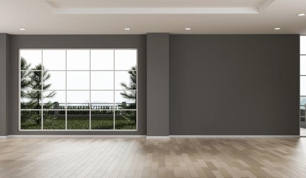 フローリングの3dレンダリングによる空の部屋のデザインのコピースペース