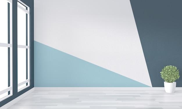 Empty room geometric wall on wood floor. 3d rendering