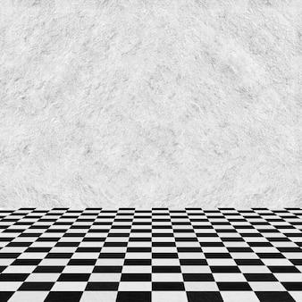 Stanza vuota parete grigia e piano quadrato
