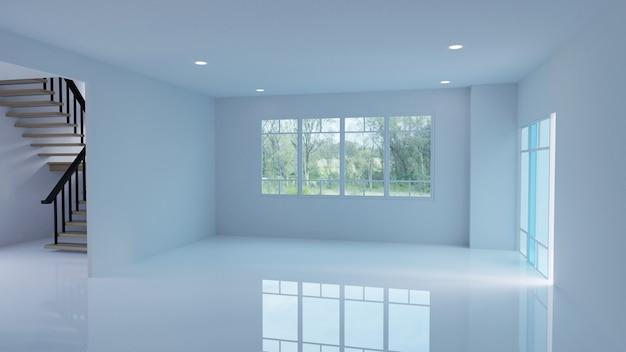 Пустой интерьер комнаты 3d-рендеринга