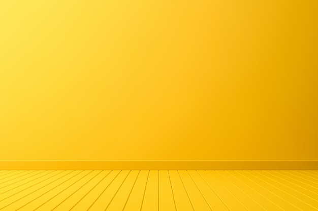 Empty room interior design or yellow pedestal display on vivid background with perspective plank. 3d rendering.