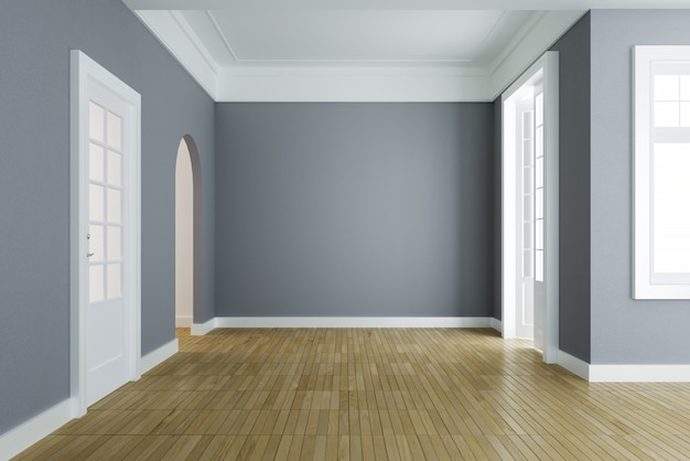 Empty room interior, gray wall & wooden floor, classic style. 3d rendering