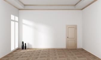 空の部屋のインテリアは日本風です。 3Dレンダリング