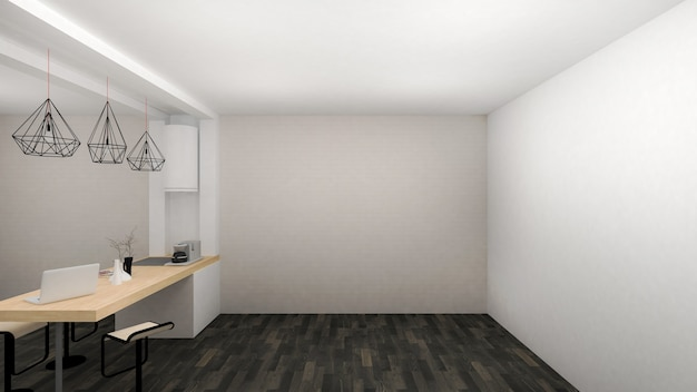 Empty room interior modern style with pantry area and black wooden floor. 3d render