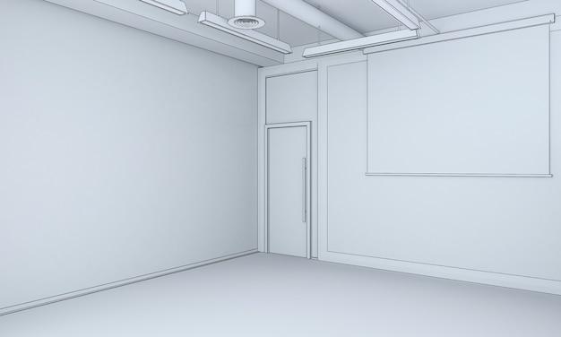 空の部屋のインテリアの視覚化3dイラスト