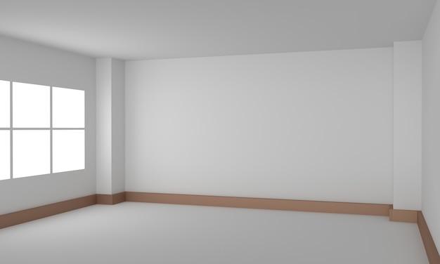 빈 방 인테리어 흰색 배경입니다. 3d 렌더링 일러스트 레이션