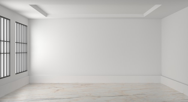 Empty room interior white blank wall. 3d render