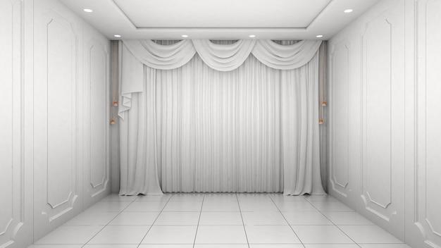 빈 방 인테리어 흰색 벽 현대적이 고 럭셔리 스타일.