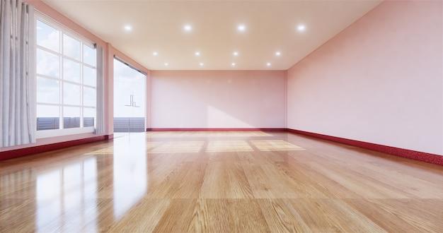 나무 바닥으로 빈 방 인테리어입니다. 3d 렌더링