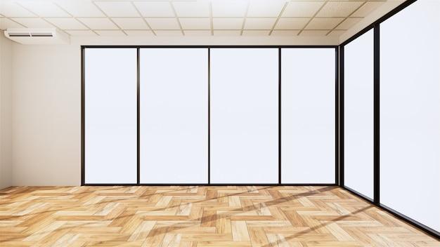 白い壁に木製の床と空の部屋のインテリア。 3dレンダリング
