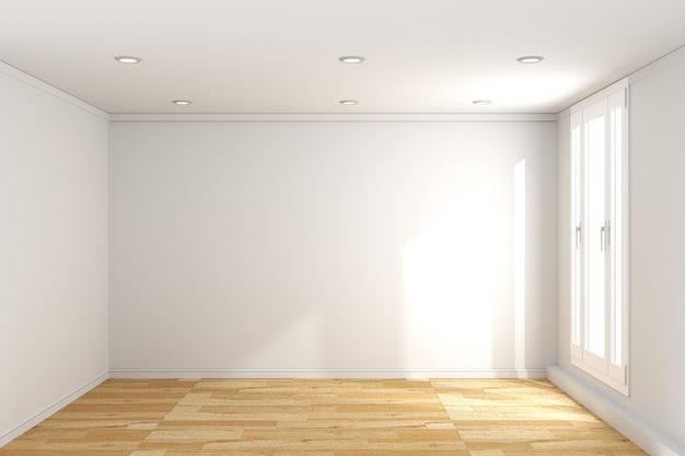흰 벽 배경에 나무 바닥으로 빈 방 인테리어. 3d 렌더링