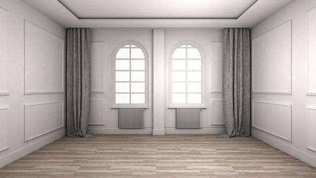 Empty room interior wooden floor classic and luxury style.
