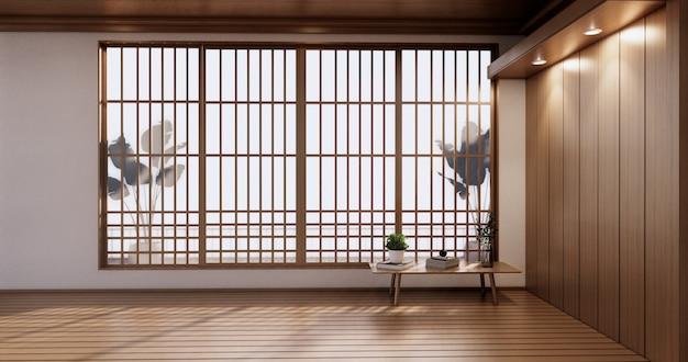 Empty room - japanese minimal design for interior artwork.3d rendering