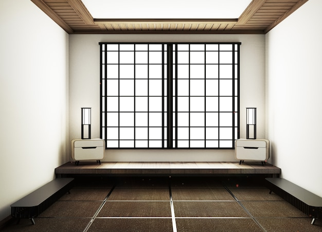 Empty room japanese style. 3d rendering
