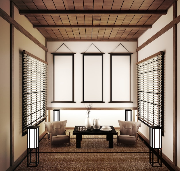 Empty room japanese tatami mats and paper sliding doors called shoji.3d rendering