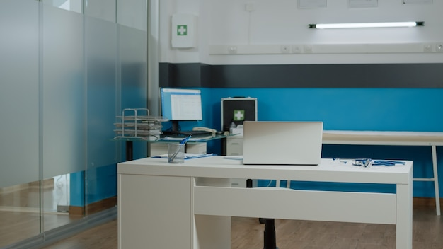 Empty room of medical cabinet at healthcare clinic
